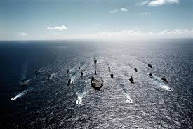 Navy fleet sailing