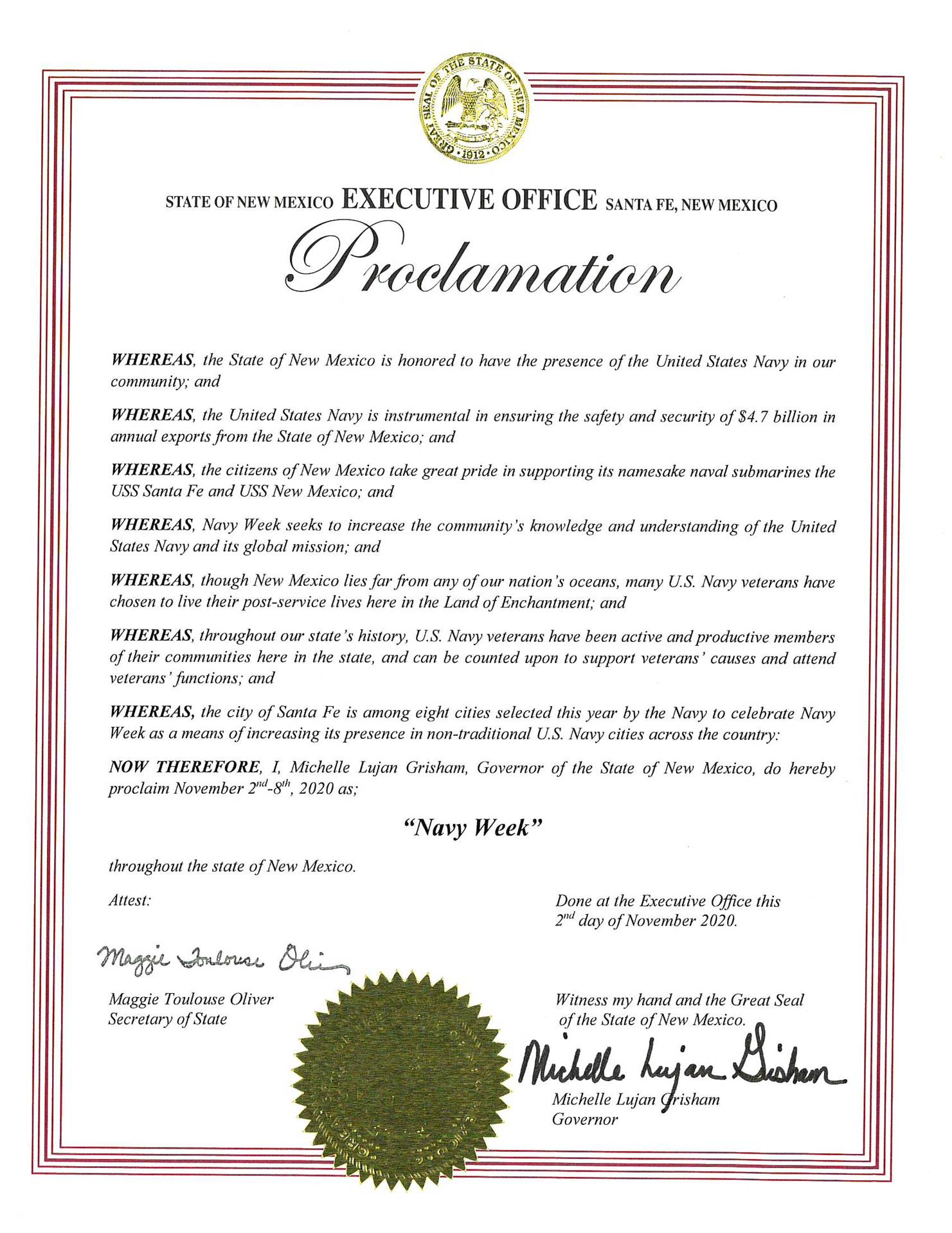 New Mexico Navy Week Proclamation 2020